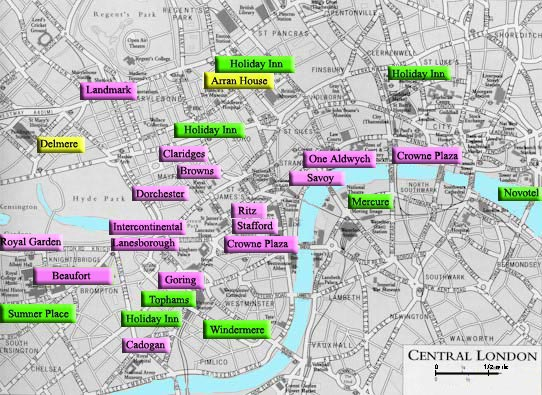 London Hotels a guide to a selection of good accommodation – Map of Central London Areas