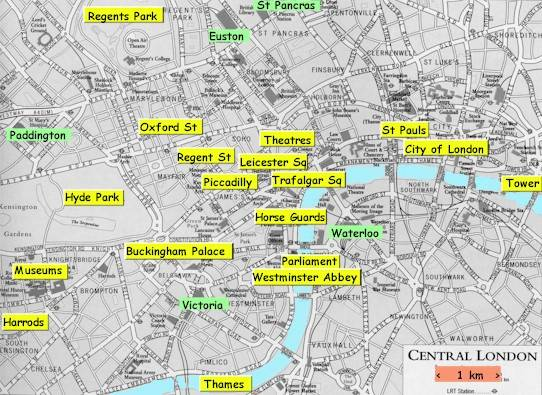 London sights of Britains capital – Map Of London For Tourists